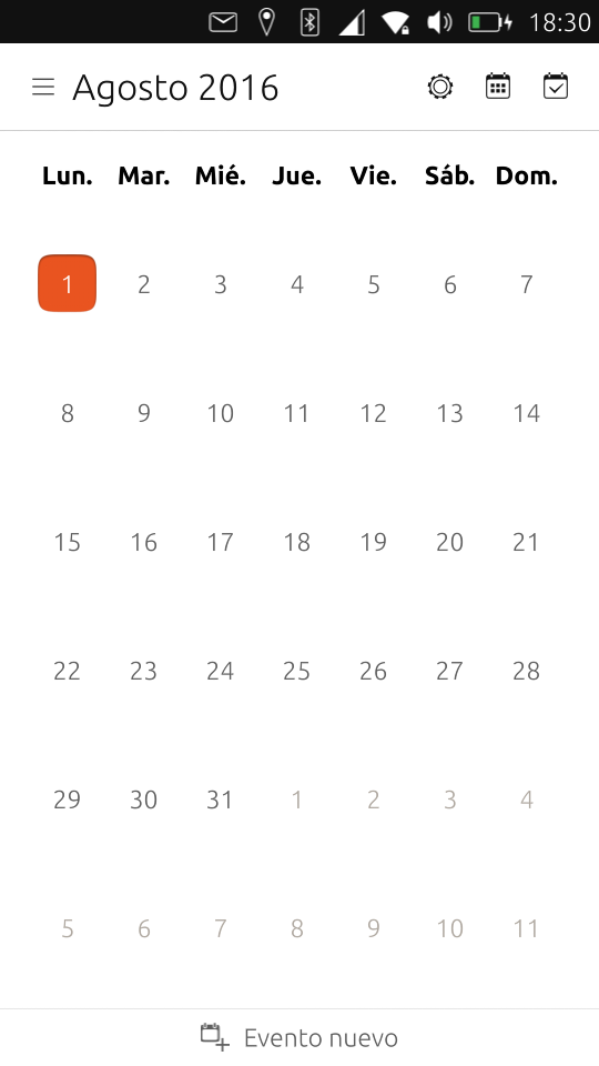 Aplicación nativa de calendario
